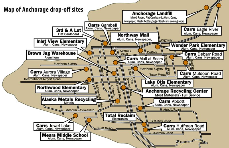 Map of drop-off sites in Anchorage